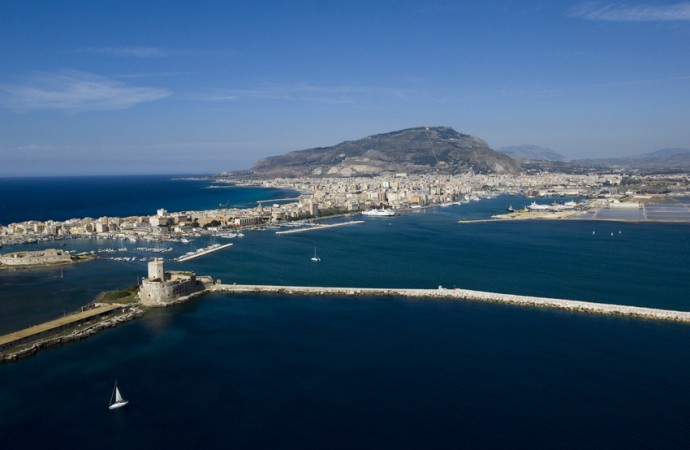 trapani arbor, landscape of the port sicily, italy