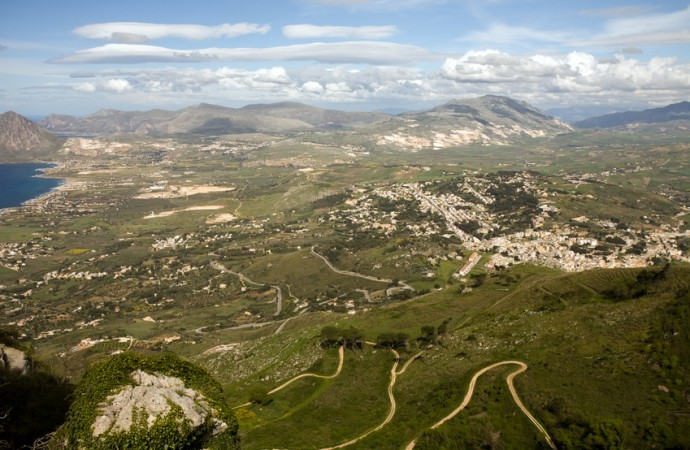 aerial view of beautiful green valley, Erice town, Sicily, Italy