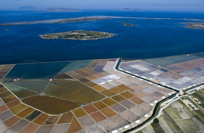 Marsala, aerial wiew of saltwork, Trapani, Sicily, Italy